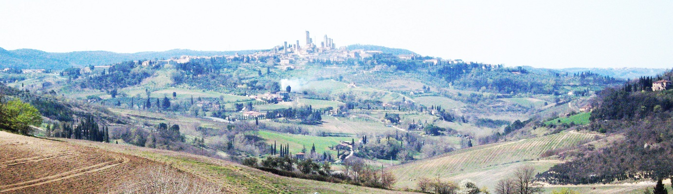 San Gimignano and its towers dominate the Val d'Elsa countryside with its vineyards.